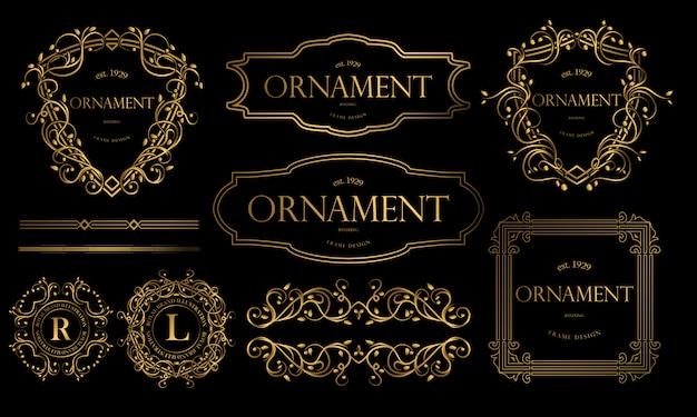 Золотые значки люкс с декоративным орнаментом