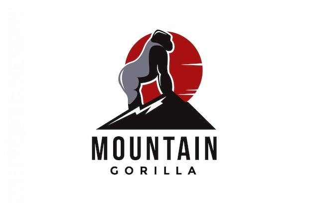 山とシルバーバックゴリラのロゴのベクトル