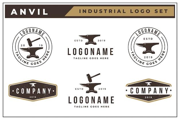 Старинный логотип набор наковальни