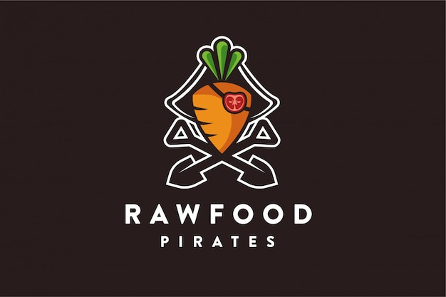 Сырье, морковь, помидоры, пираты, логотип