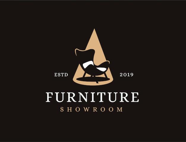 クラシックなミニマリストのビンテージソファとスポットライト、家具のロゴ