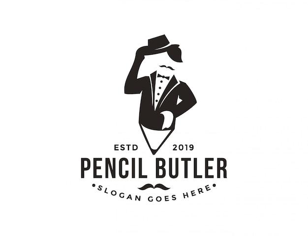 バトラーと鉛筆のロゴのミニマリストのモダンなビンテージヒップスター