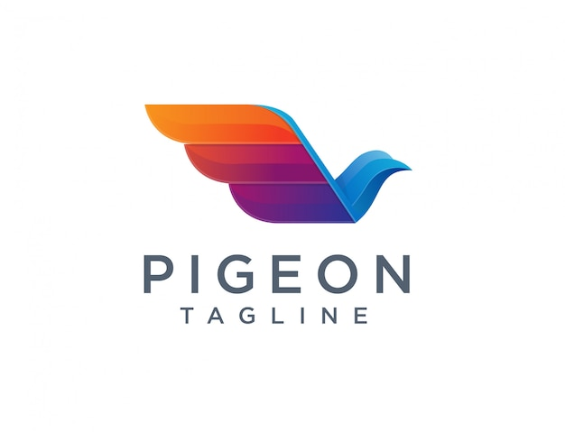 モダンな幾何学的な鳩のロゴ