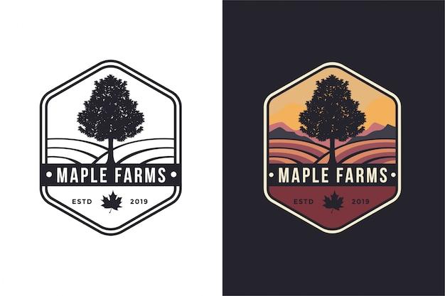 Винтажная эмблема битник клен и фермы логотип