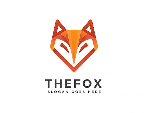 抽象的なモダンな幾何学的なフォックスヘッドのロゴ
