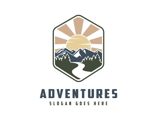 古典的な山の風景のロゴ