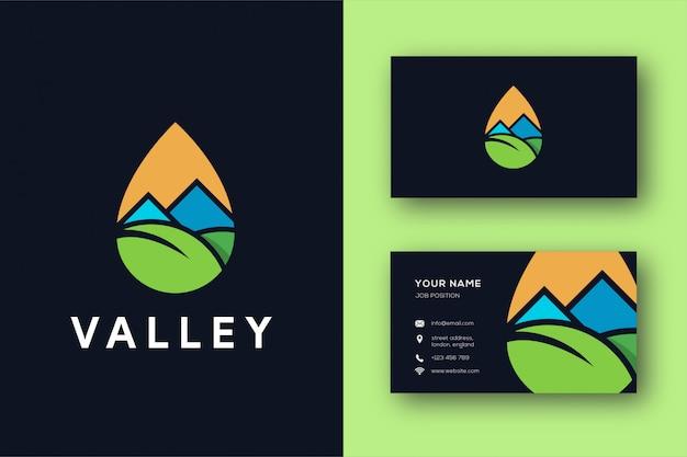 抽象的なミニマリストの谷のロゴと名刺