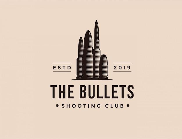 Шаблон логотипа винтажного патрона для стрельбы патронами