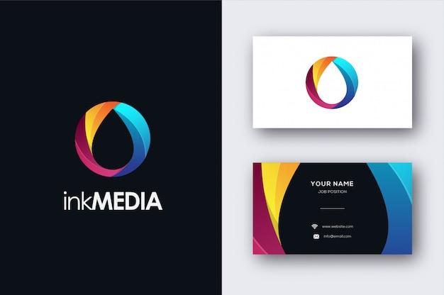 Абстрактный логотип капли чернил и шаблон визитной карточки