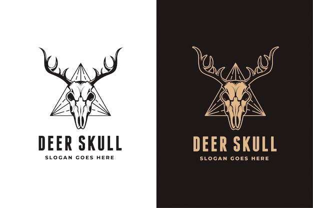 鹿の頭蓋骨のロゴセットテンプレート