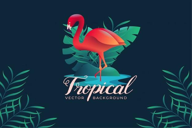 Фон иллюстрация с тропической темой фламинго
