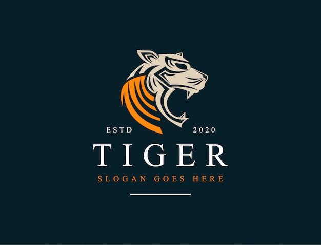 タイガーヘッドのロゴアイコンイラスト