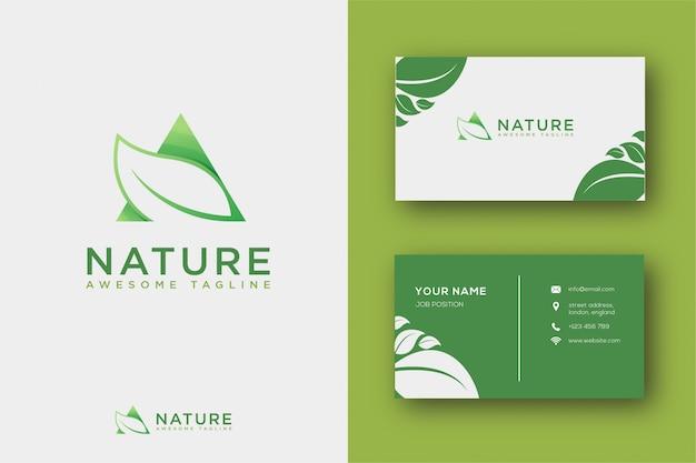 抽象的な葉のロゴと名刺