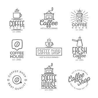 分離されたコーヒーショップのロゴのセット
