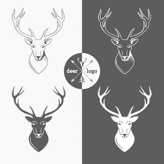ハンタークラブ、狩猟のために分離された鹿の頭。ベクトルイラスト