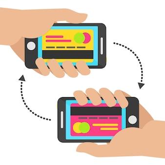 カードを使ってモバイル決済の概念。モバイルのコンセプトを転送します。ベクトルイラスト