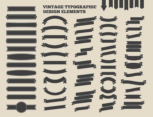リボンとヴィンテージのエンブレムセット。活版印刷の要素をデザインします。ベクトルイラスト