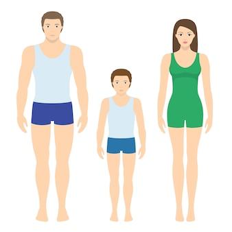 成人男性と女性と子供のイラスト