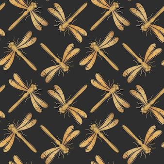 テキスタイルデザイン、壁紙、包装紙またはスクラップブッキングのための黄金のトンボのシームレスパターン。