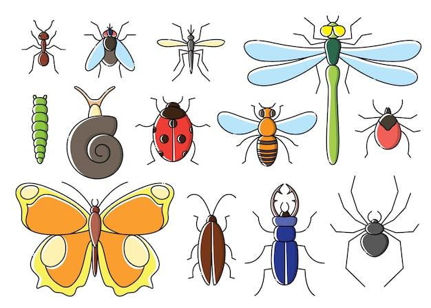 フラットスタイルで設定された昆虫。ラインアートのバグアイコンのコレクション。