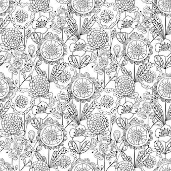 Бесшовный монохромный цветочный узор. рисованной каракули цветы.