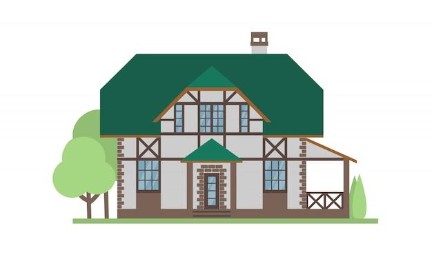 Коттеджный дом, фасадный дом.