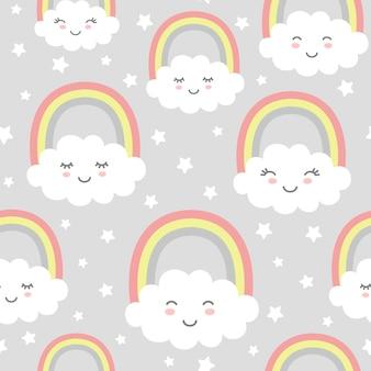 Безшовная картина с милыми облаками, радугой и звездами.