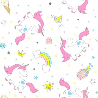 子供用テキスタイル、版画、壁紙、スクラップブッキングのためのシームレスなベクトルユニコーンパターン。