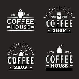 ビンテージコーヒーのロゴのテンプレート、バッジおよびデザイン要素のセット。