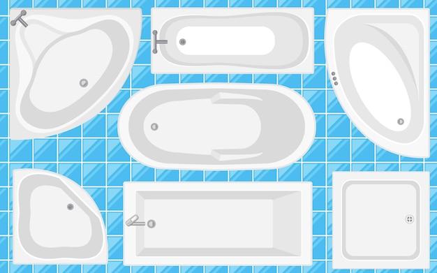 バスタブトップビューコレクション。フラットスタイルのベクターイラスト。さまざまな浴槽のタイプのセット。