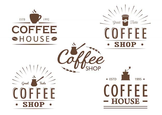 ビンテージコーヒーのロゴのテンプレート、バッジおよびデザイン要素のセット。コーヒーショップ、カフェ、レストランのロゴタイプコレクション。図。ヒップスターとレトロなスタイル。