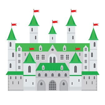 フラットスタイルの城のベクトルイラスト。中世の石造りの要塞