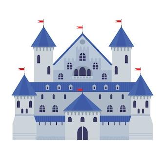 Векторная иллюстрация замка в плоском стиле. средневековая каменная крепость. замок абстрактной фантазии