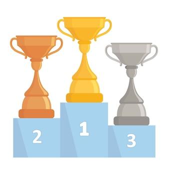 金、銀、銅のトロフィーカップ。表彰台に木の優勝カップ。フラットデザイン