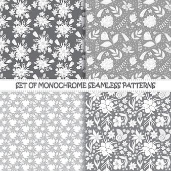 シームレスな白黒ベクトルパターンのセットです。花柄。モノクロのシームレスパターン。