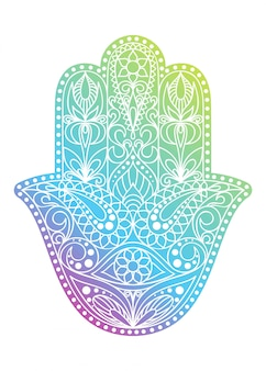 手描きのハムサのシンボル。ファチマの手。インド、アラビア、ユダヤ文化に共通の民族お守り。東部の花飾りとカラフルなハムサのシンボル。
