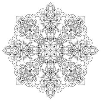 塗り絵のための輪郭曼荼羅。装飾的な丸い飾り。抗ストレス療法のパターン。花柄のデザイン要素。