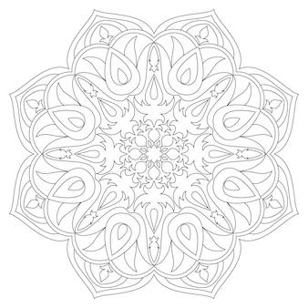 マンダラ民族の装飾的な要素手描きの背景。イスラム、アラビア、インド、オスマン風のモチーフ。モノクロマンダラシンボル