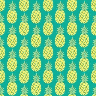 パイナップルのシームレスパターンフラット漫画スタイル