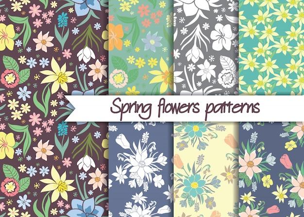Набор бесшовных красочных весенних цветочных узоров.