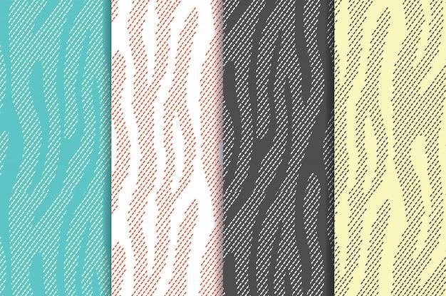 アニマルプリントゼブラトラの縞模様のシームレスパターンを設定します。織物繰り返し動物の毛皮
