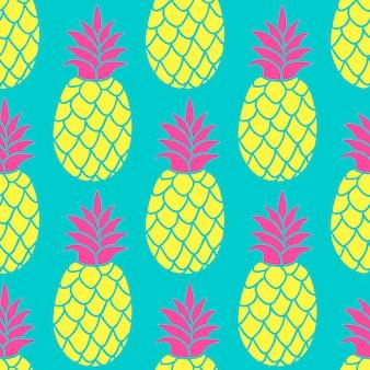 パイナップルのトレンディな色のシームレスパターン。