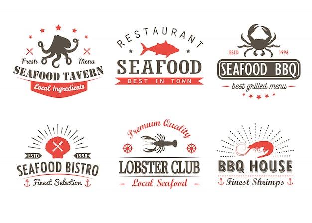 Набор марочных морепродуктов, барбекю, гриль шаблоны логотипов и значки