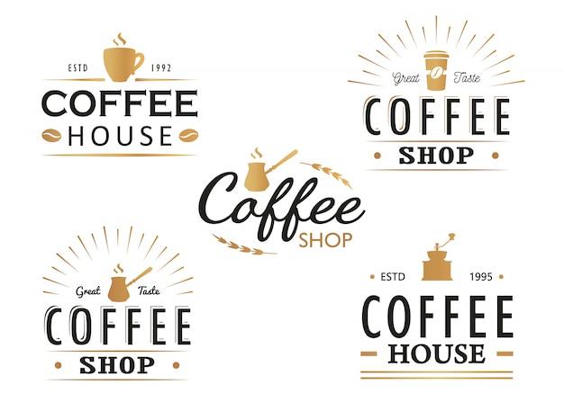 ビンテージコーヒーのロゴのテンプレート、バッジおよびデザイン要素のセット。コーヒーショップ、カフェ、レストランのロゴタイプコレクション。
