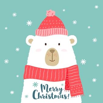 メリークリスマスフレーズと暖かい帽子とスカーフでかわいい漫画のクマ