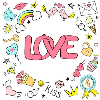 愛のレタリングと手描きの乙女チックな落書きのグリーティングカード