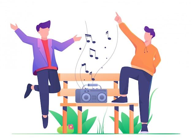 Человек танцует в парке плоской иллюстрации