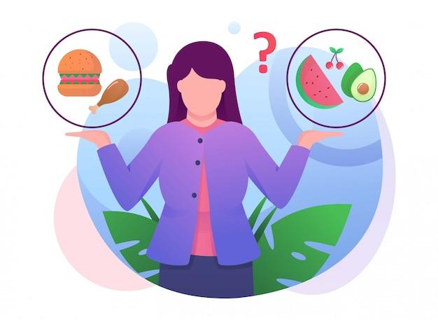 女性のコンフューズは食べ物のイラストを選ぶ