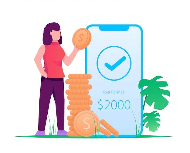 Женщина получает деньги с мобильного криптониума иллюстрации