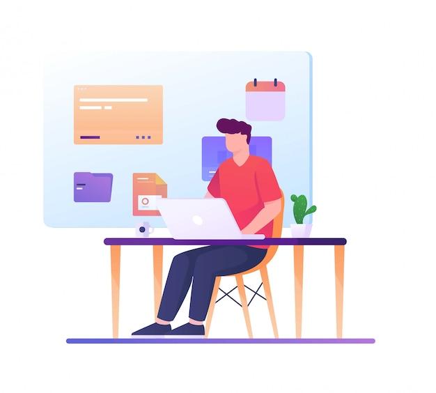 Человек работает на столе график иллюстрации